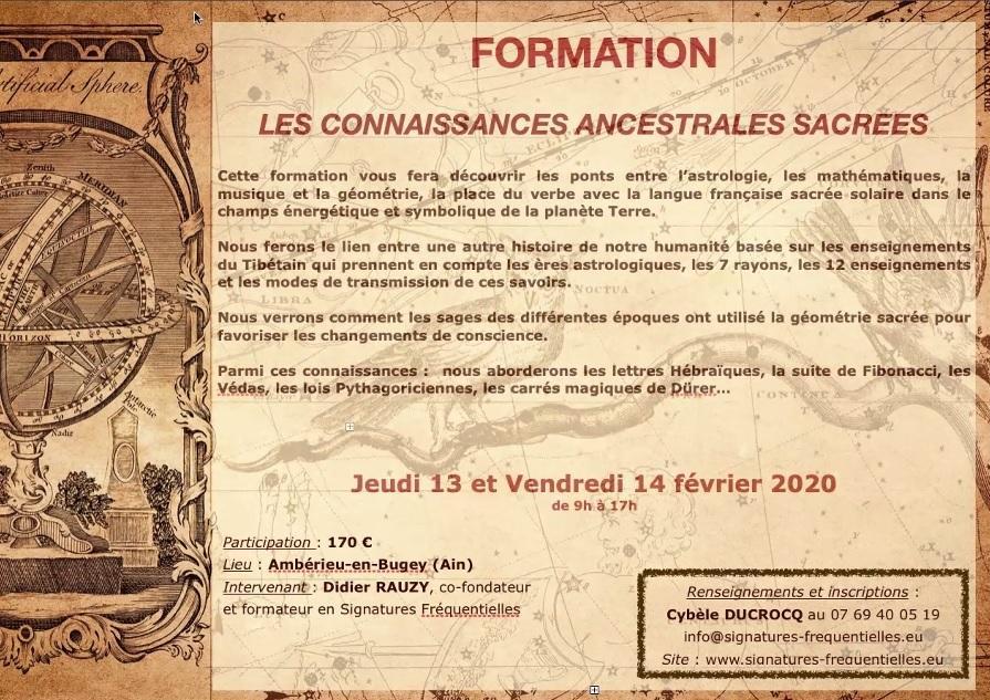 Affiche formation connaissances ancestrales sacrees fevr 2020